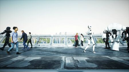 People and robots. Sci fi tonnel. Futuristic traffic. Concept of future. 3d rendering. Imagens