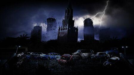 Apocalypse ville de Moscou dans le brouillard. ville détruite. Notion d'apocalypse. rendu 3D