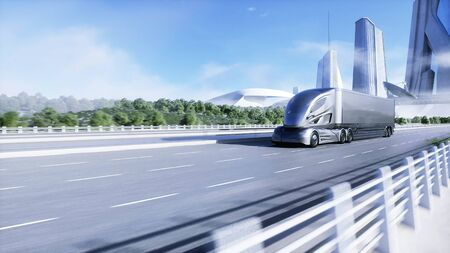 3d model of futuristic electric truck on highway. Future city background. Electric automobile. 3d