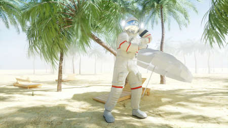Funny astronaut dancing on sunny seaside. Tourism and rest concept. 3d rendering