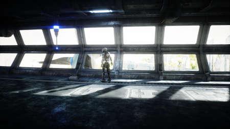 Robot in Sci fi tonnel. Concept of future.. 3d rendering..3d rendering.