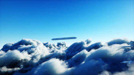Flying passenger train. Futuristic sci fi city in clouds. Utopia. concept of the future. Aerial fantastic view. 3d rendering.