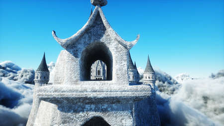 Fairytale palace in clouds. Aerial view. Overclouds. 3d rendering