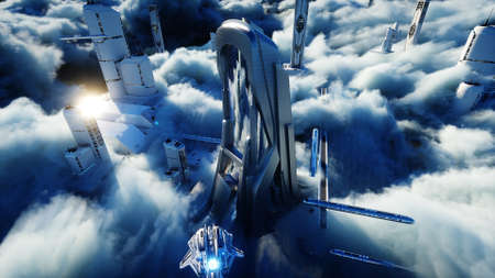 Futuristic sci fi city in clouds. Utopia. concept of the future. Flying passenger transport. Aerial fantastic view. 3d rendering.