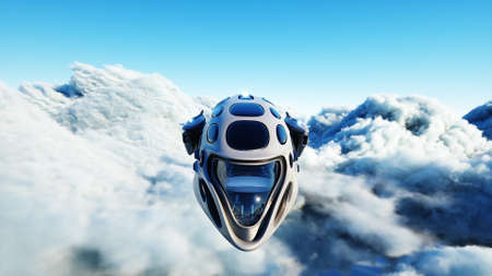 Futuristic sci fi ship flying in the clouds. 3d rendering. 写真素材