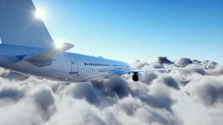 Passenger plane  flying in clouds. Plane. 3d rendering. Stok Fotoğraf