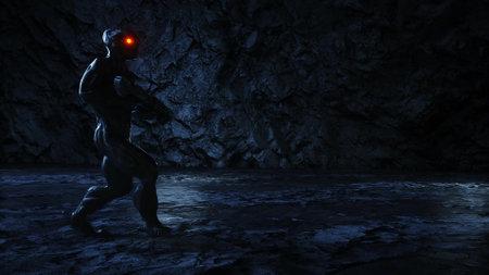 Alien, monster with gun in light portal. 3d rendering. Stok Fotoğraf