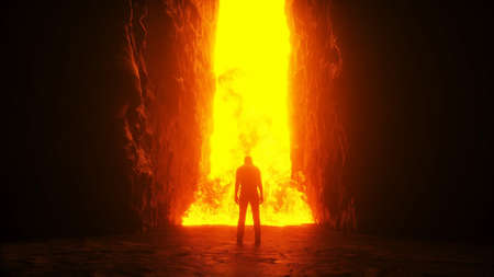 Sinner. A lonely sinfull man stands in front of a hell gates. Hell fire. Religious concept. 3d rendering.