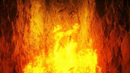 Hell gates. hell fire. Devil portal. Sinner. Religious concept. 3d rendering. Stok Fotoğraf