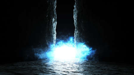 Magic, light portal with particles. Fairy place. Realistic 4k animation.