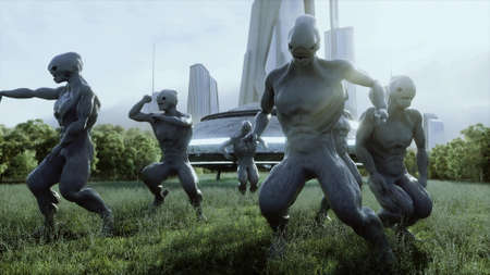 funny aliens dancing in the meadow near the UFO spaceship. 3d rendering.