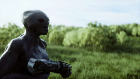 Military alien with a weapon walks through the meadow against the background of the city. 3d rendering