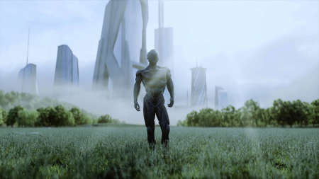 military space soldiers of the future on a green meadow against the backdrop of a futuristic city. 3d rendering.