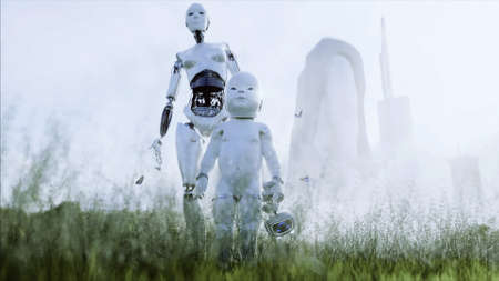 mother robot with her baby robot in the meadow on the background of a futuristic city. Family of the future. Robofamily. 3d rendering. Stok Fotoğraf