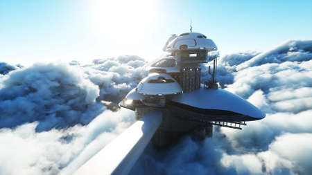 futuristic city station on the clouds. Flying futuristic ships. Concept of future. 3d rendering.