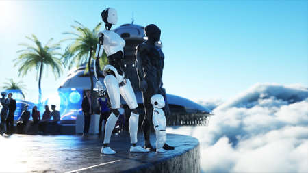 robotic family at a futuristic station in the clouds, against the backdrop of a flying city. Future family concept. 3d rendering. Stok Fotoğraf
