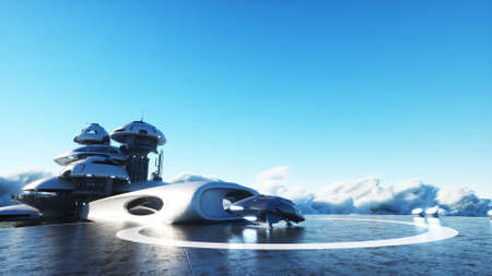 futuristic ship lands on futuristic base in the clouds. 3d rendering. Stok Fotoğraf
