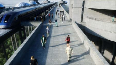 futuristic train station with monorail and train. traffic of people, crowd. Concrete architecture. Future concept. 3d rendering.