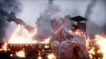 Alien, monster in a burning ruined apocalyptic city. Armageddon america view. Realistic fire simulation. 3d rendering Stok Fotoğraf