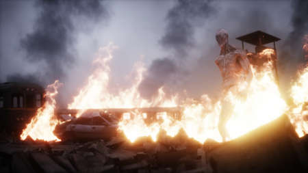 Alien, monster in a burning ruined apocalyptic city. Armageddon view. Realistic fire simulation. 3d rendering Stok Fotoğraf