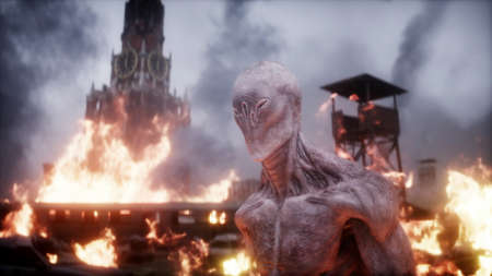 Alien, monster in a burning ruined apocalyptic city. Armageddon Moscow view. Realistic fire simulation. 3d rendering