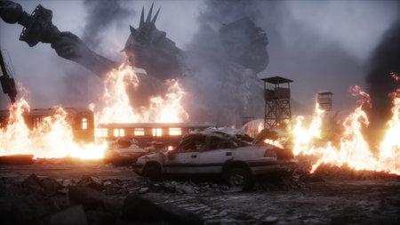 America apocalypsis. burning ruined apocalyptic city. Armageddon view. 3d rendering. Stok Fotoğraf