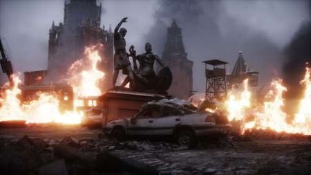Russian apocalypsis. burning ruined Moscow city. Armageddon view. Realistic fire simulation. Postapocalyptic. 3d rendering.