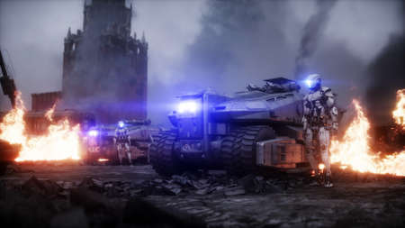 Russian apocalypsis. Military car in a burning ruined Moscow city. Armageddon view. Postapocalyptic. 3d rendering.