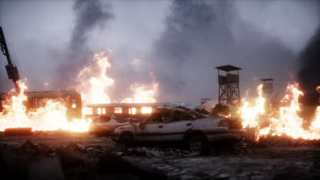 burning ruined apocalyptic city. Armageddon view. Realistic fire simulation. Postapocalyptic. 3d rendering