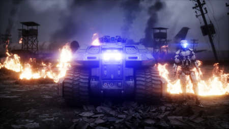 Military car in a burning ruined apocalyptic city. Armageddon view. Realistic fire simulation. Postapocalyptic. 3d rendering