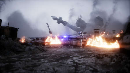 American apocalypsis. Military car in a burning ruined city. Armageddon view. 3d rendering.
