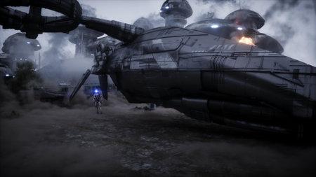 Futuristic sci fi ship take wing. Military robot. Apocalypse city. 3d rendering. Stok Fotoğraf