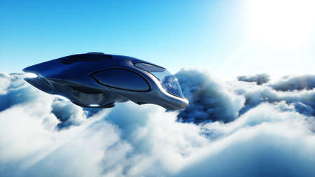 Futuristic sci fi ship flying in the clouds. 3d rendering. Stok Fotoğraf