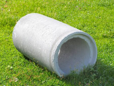 Concrete pipe laying Stock Photo