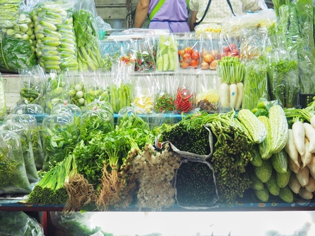 Fresh vegetables in plastic packages For freshness and clean. And look delicious in the packaging concept for sale.
