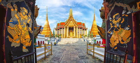 Wat Phra Kaew,Temple of the emerald buddha or Wat Phra Si Rattana Satsadaram,is regarded as the most sacred buddhist temple ,is one of the best known landmarks in Bangkok,Thailand,Panorama view