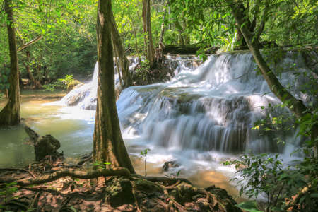 Huai Mae Khamin Waterfall (Khuean Srinagarindra National Park),tropical forest,beautiful waterfall and popular with tourists for a holiday at Kanchanaburi,Thailand Banco de Imagens
