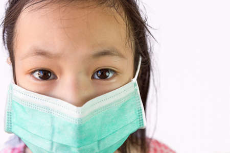 Portrait asian little girl in a medical mask isolated on white background,child wearing hygienic mask, concept of an epidemic,influenza,protection from disease, pollution and prevent dust allergy