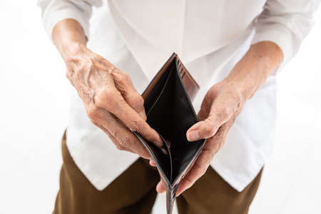 Empty wallet in the hands of Senior asian people  in wrinkled hands,Elderly woman hands open an empty wallet on white background,poverty in retirement concept