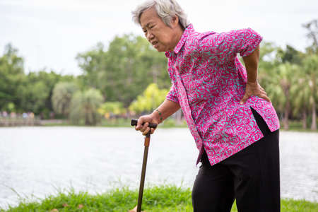Asian senior woman with hip joint pain while walking in nature in summer,female patient having backache,lumbago pain,hands touching on the hip in outdoor park,elderly people suffering from ribbing pain or waist pain,health problems