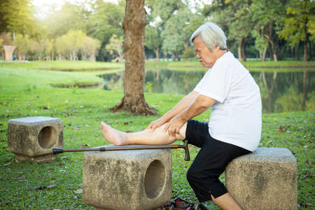 Unhappy asian senior woman with walking stick suffering from  arthritis,osteoarthritis,elderly people using hands to massage the legs,feel pain in the knee,leg injury after walking exercise in nature