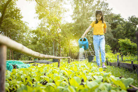Happy asian child girl watering plants with watering can in organic garden,activities,help parents to grow vegetables,working and gardening in outdoor,female teen cares vegetables,agriculture concept