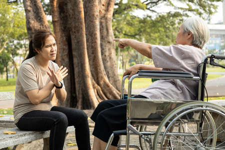 Angry senior person in wheelchair has quarrel violently with aggressive caregiver woman at outdoor nursing home,female elderly arguing yell at each other,ungrateful,bad relations,conflict concept