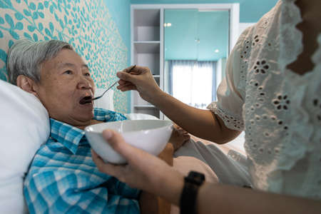 Nurse or caregiver take care of senior woman,give soft food,look after to patient,feeding food to elderly grandmother with soup,disabled old people eat supplements and warm broth while resting in bed