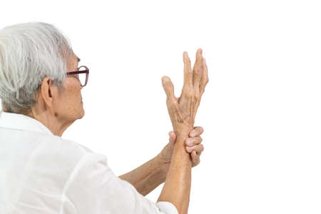Asian senior people showing hands tremors,shaking of Parkinson's disease,old elderly with painful or numbness of the hand and fingers,tendon problems causing a finger to jerk,trigger finger disease