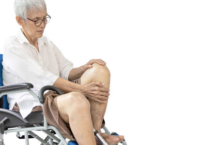 Asian old people suffering from rheumatoid,arthritis,osteoarthritis,painful inflammation of ligaments hold the bones and knee joints,pain in the patella,kneecap problem in elderly,medical,health care