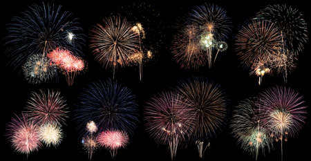 Beautiful colorful of different fireworks on black background at festival to celebrate,abstract pattern design of set fireworks for display,season of festivity,highlight of national event celebration