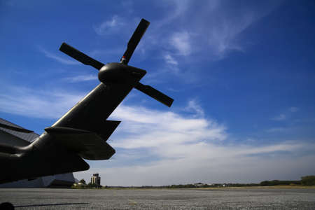 Tail Rotor Blade and Blue sky Stock Photo
