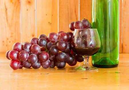fruiting: Still life Wine bottle and Glass Stock Photo