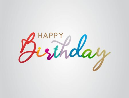 Colorful Happy Birthday Greeting text. Beauty happy birthday with handwritten text lettering. Cute lettering design concept